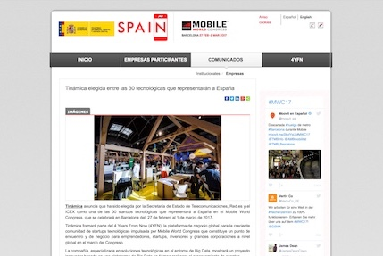 Tinámica chosen among the 30 technological companies that will represent Spain