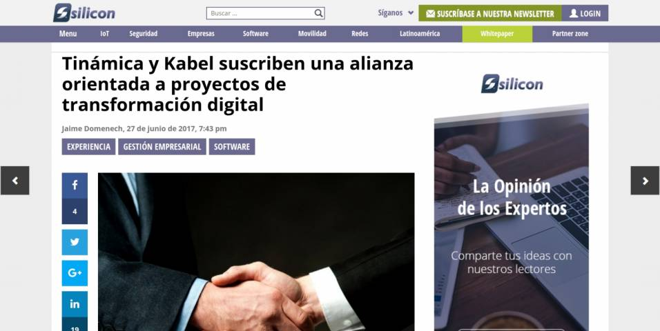 Tinámica and Kabel forge an alliance aimed at digital transformation projects
