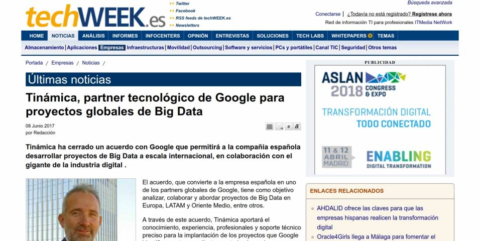 Tinámica, Google's technology partner for global Big Data projects